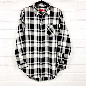 Killion Plaid Button Down NWOT black/white shirt M